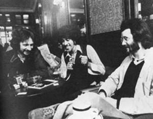 A young Jim Fitzpatrick on the left, Phil Lynott, and Peter Fallon, a Poet. From his site - www.jimfitzpatrick.com