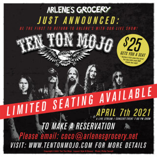 Ten Ton Mojo at Arlene's Grocery on Wednesday, April 7th, 2021!